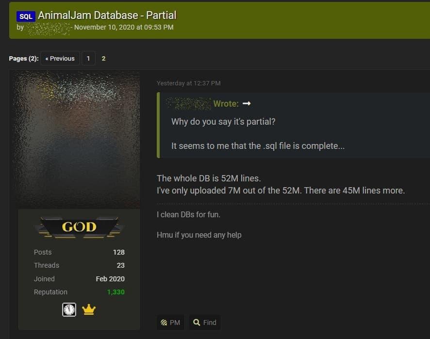Animal Jam data breach - Hacker leaks 7M accounts from stolen 46M