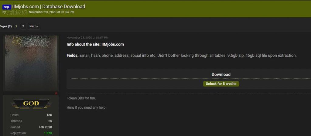 Indian job portal IIMJobs hacked; entire database leaked online