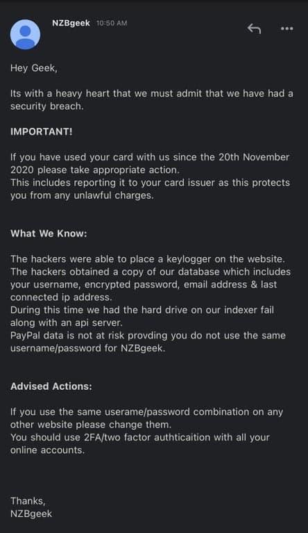 Usenet indexer NZBGeek hacked; database stolen