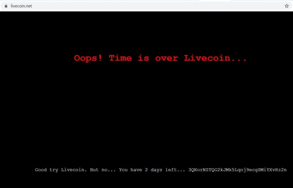 Livecoin crypto exchange shuts down after losing its domain to hackers