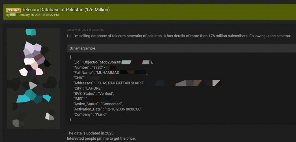 Threat actor selling database of 176 million Pakistani telecom users