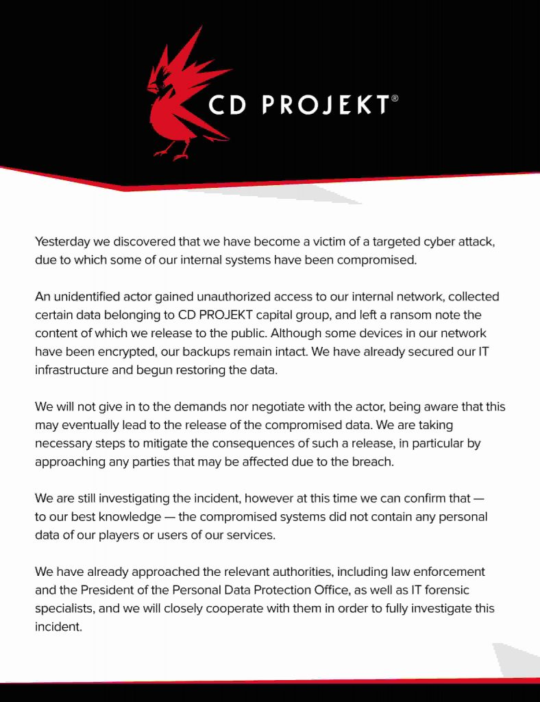 Cyberpunk 2077 source code accessed in ransomware attack on CD Projekt