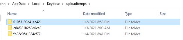 Keybase' Uploadtemps folder – Image: John J Hacking