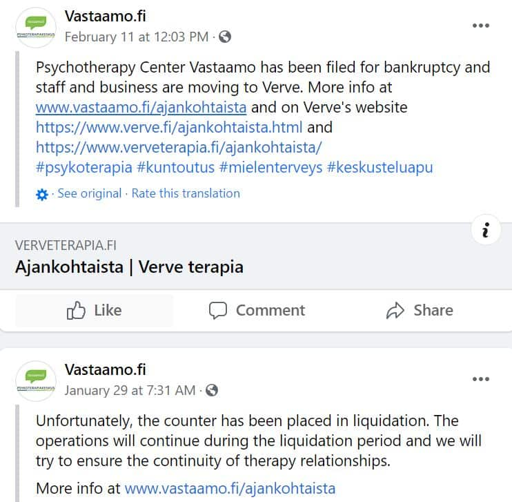 Hacked Finnish psychotherapy clinic files for bankruptcy