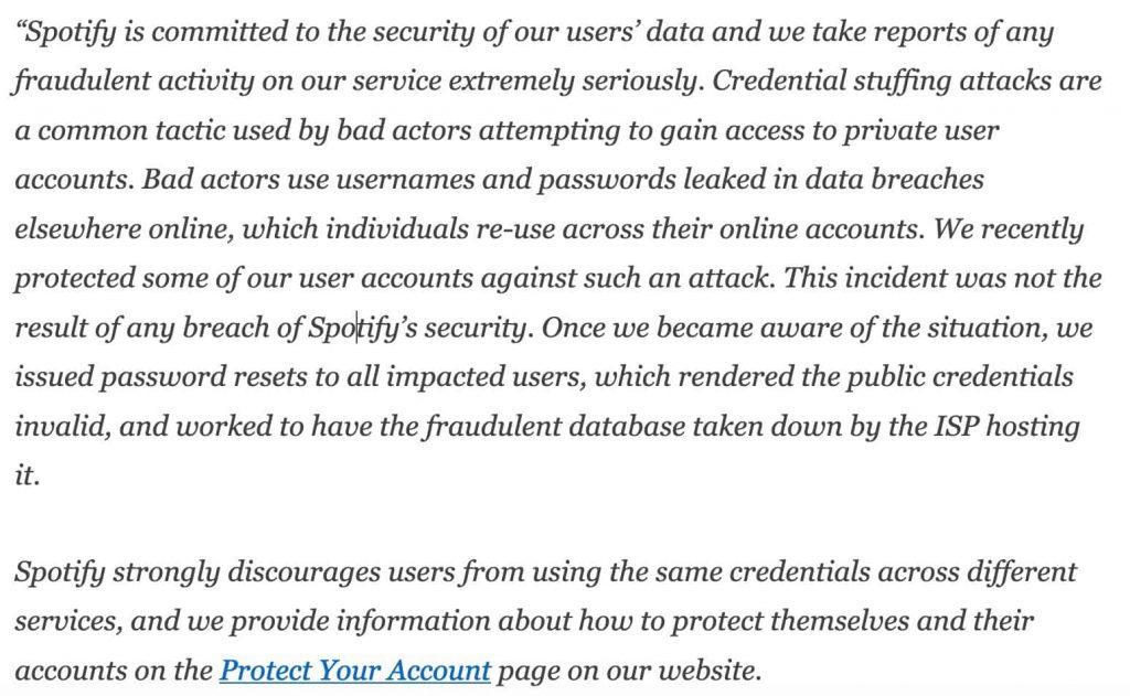 Hundred thousand Spotify accounts leaked in credential stuffing attack