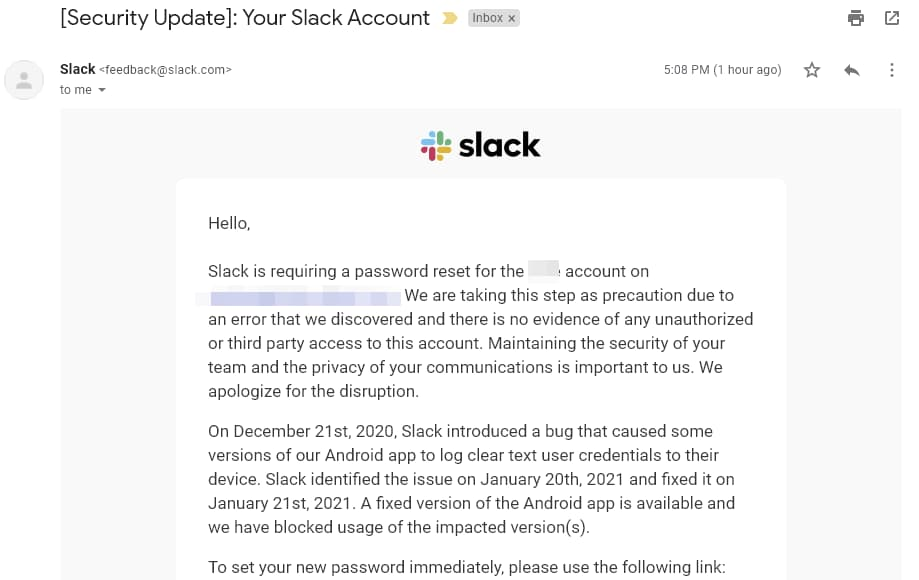 Slack email asking Android app users to change their passwords