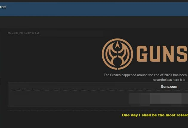 Screenshot from the hacker forum where Guns.com database has been leaked (Image: Hackread.com)