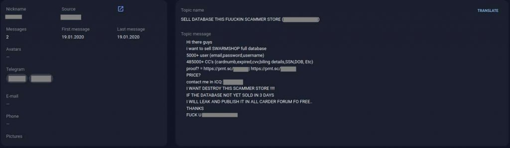 Carding forum Swarmshop hacked; database, 600k card details leaked