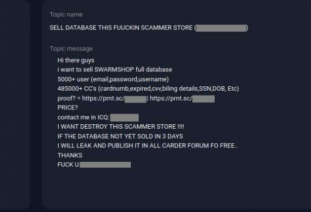 The screenshot shows hackers leaked the data from Swarmshop.