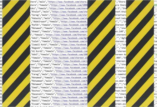 This screenshot shows Facebook data belonging to Egyptian users (Image: Hackread.com)