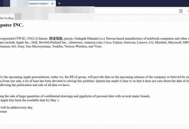 Blog post published by REvil ransomware gang (Image: Hackread.com)