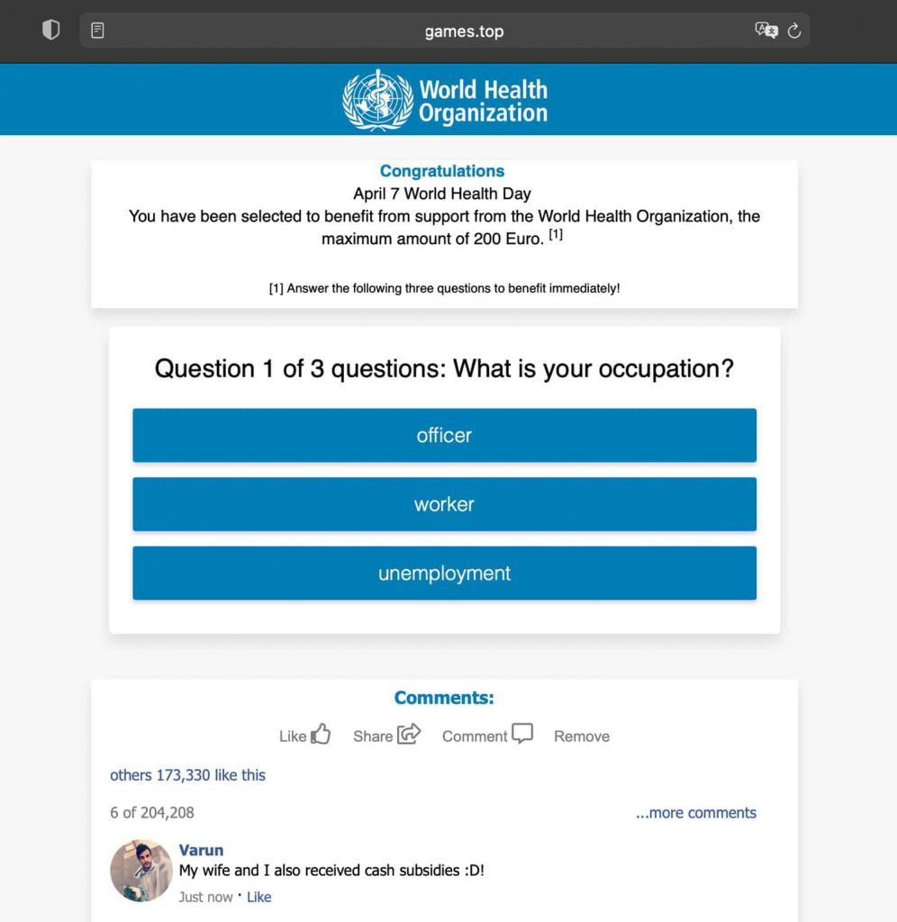 Authorities take down scam campaign impersonating the WHO