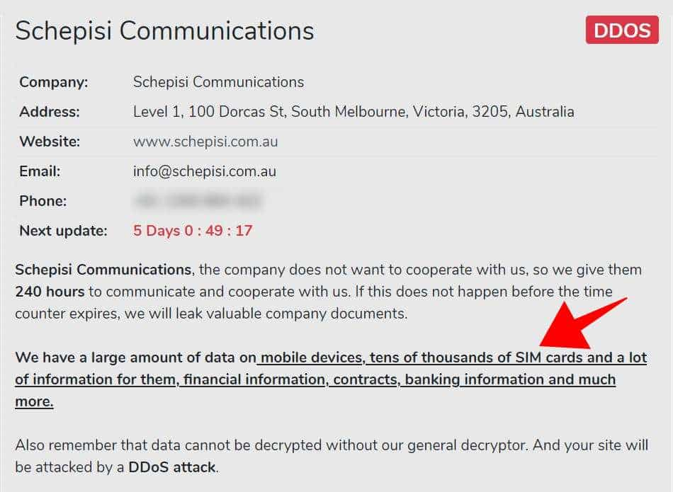 Avaddon hackers claim stealing SIM card data from Telstra service provider