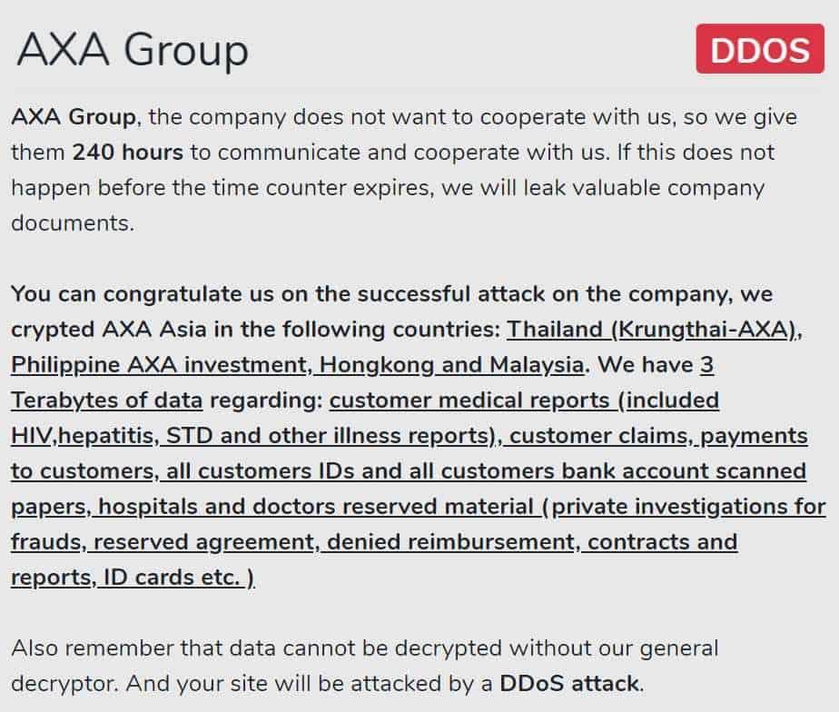 Avaddon ransomware hits French insurance giant AXA; 3TB data stolen