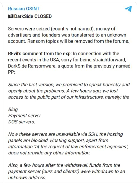 Bitcoin, servers of DarkSide ransomware gang seized, operation shut down