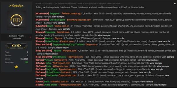 Threat actor selling WedMeGood data back in 2020 (Image credit: Hackread.com)