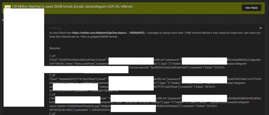 Hacker dumps 150 million user records from Iranian Raychat app