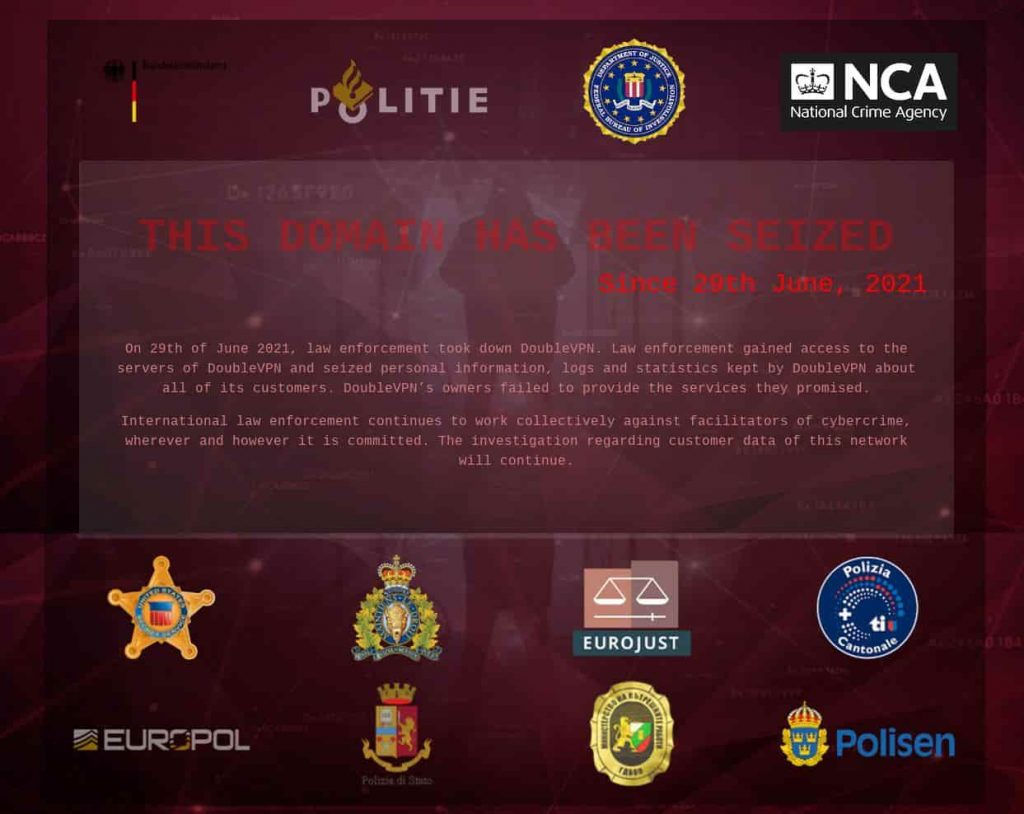 Domain, servers of DoubleVPN used by ransomware gangs seized
