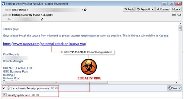 Email claiming Kaseya patch drops CobaltStrike malware