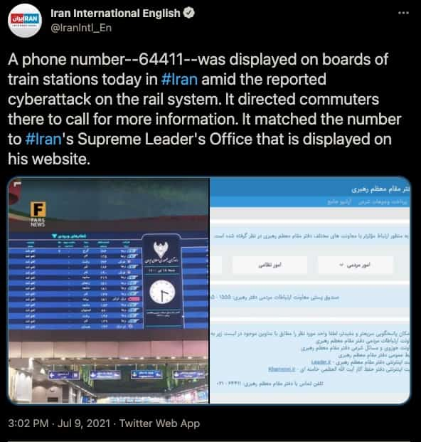 Crippling attack on Iranian Railways linked to Meteor file wiper malware