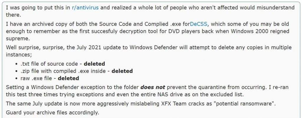 New Windows Defender update remove some EXE, source code files