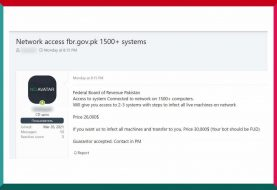 Network access to Pakistan's top fed agency FBR sold on Russian forum
