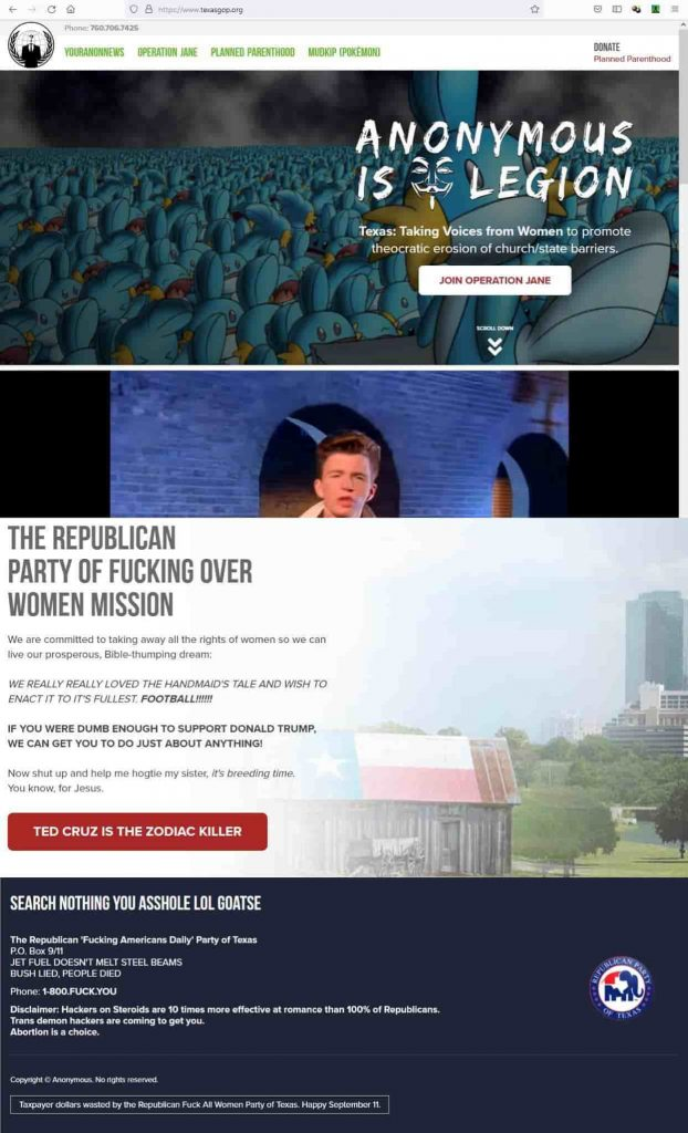 Anonymous hacks official Texas GOP website against abortion law
