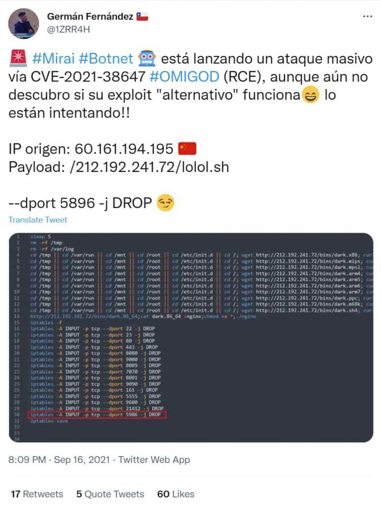 Mirai Botnet Exploiting Azure OMIGOD Flaws