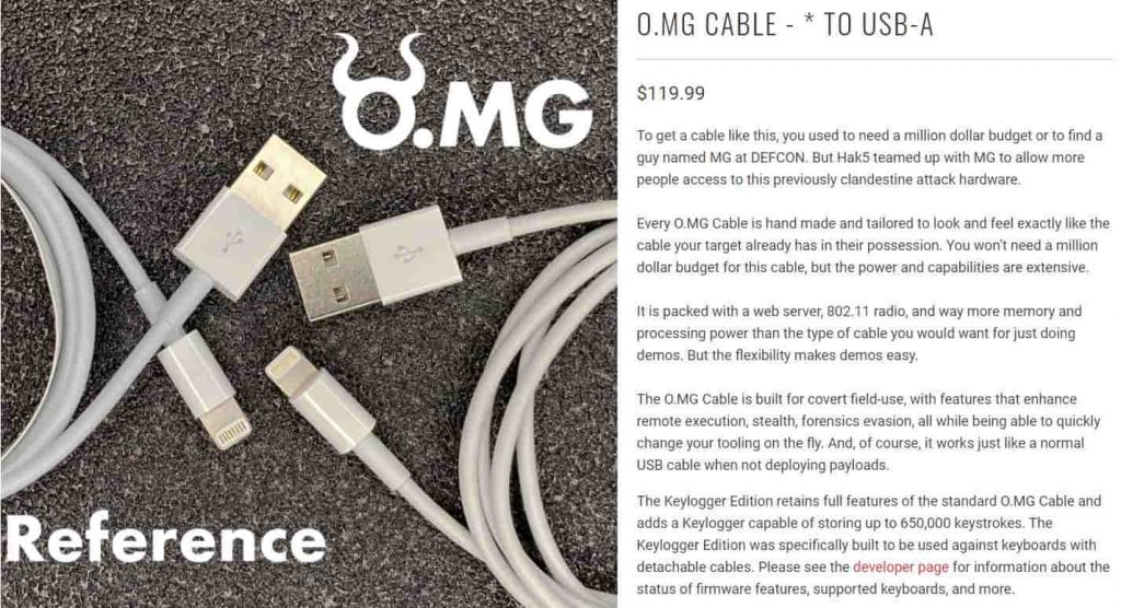 $120 charging cable O.MG remotly steals data from Apple devices